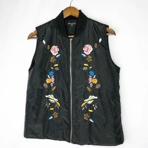 LFOR CYNTHIA Black Embroidered Puff Vest NWT LP